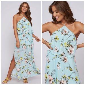 Light blue floral halter maxi dress